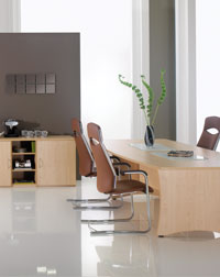 This Hawk office furniture acts as a great meeting table with storage