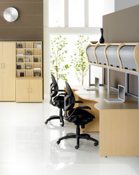 Overhead office furniture storage unit and desk from Hawk