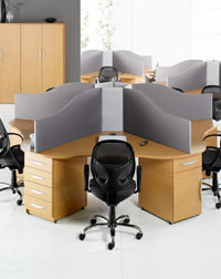 This Desk Cluster from Hawk is a great office space saver