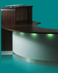 Sleak, modern reception area with under lighting by Eborcraft