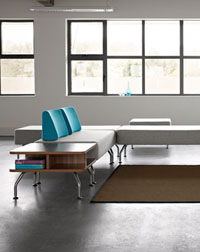This Open Plan Office Furniture from Verco, complete with Brix Seating looks great in any office